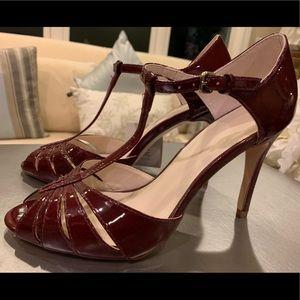 Zara Patent Cranberry Red T-Strap Sandal